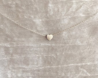 Tiny Heart Necklace-Silver Heart Necklace-Dainty Heart Necklace-Small Heart Necklace-Delicate Heart Necklace-Heart Bead Necklace-Heart
