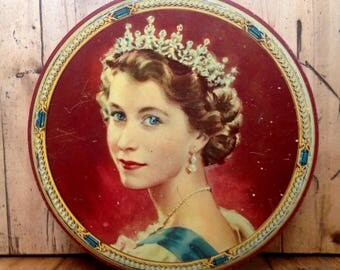 Queen Elizabeth commemorative tin from the 1953 coronation, vintage collectible