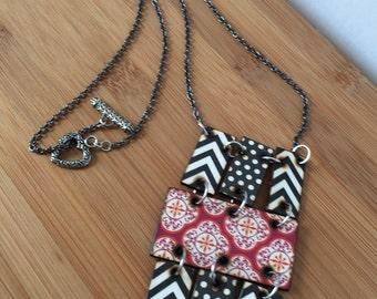 Chevron and Polka Dot Woodburned Necklace