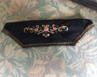 Antique Sachet, Black Silk with Petite Point, Metalic Trim and Filled with Lavender