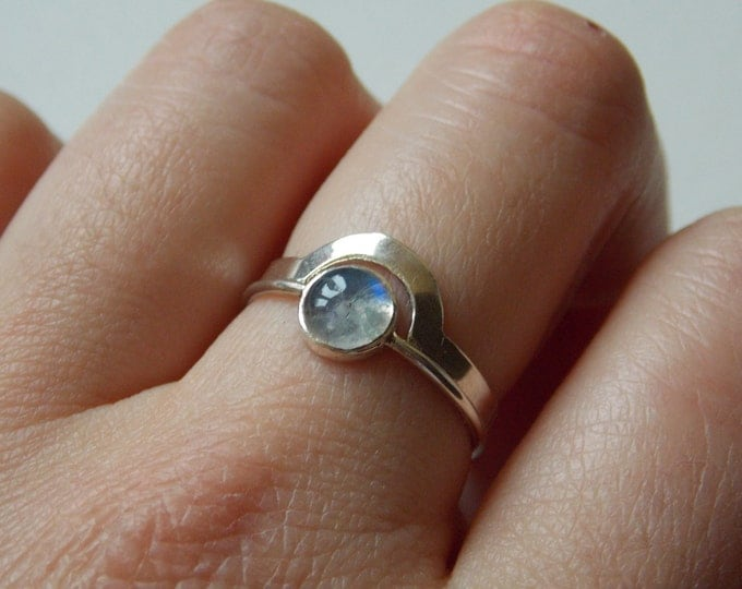 "2 stackable rings ""puzzle""   silver  and moonstone. Ring for woman"
