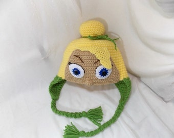 Tinkerbell hat crochet,funny hat,warm hat,crocheted baby hat, crocheted infant hat