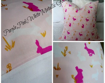 Metallic Gold.EASTER DECOR.Bunnies.Pinks.Purples.White.Gold.Pillow Covers.Slip Covers.Pillow Cases.Home Decor.Spring Decor.Girls Room Decor