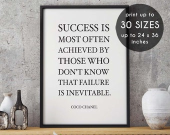 Coco chanel quote, Success is most often achieved by, Darling, fashion, chanel print, coco chanel, fashion print,chanel,coco chanel print,29