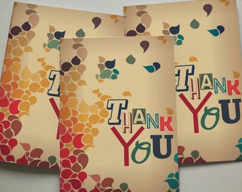 Thank You Cards 6 Pack - Multicoloured Leaves Pretty Set Cards TYPACK011_CP