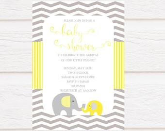 Elephant Baby Shower - Yellow and Grey - Gender Neutral - Personalized - Digital