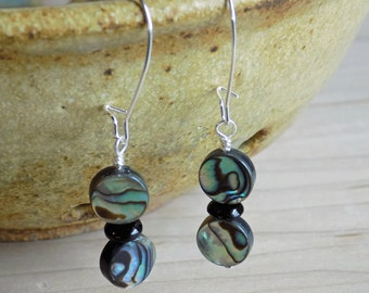 Abalone Drop Earrings, Beaded Earrings, Gifts For Her