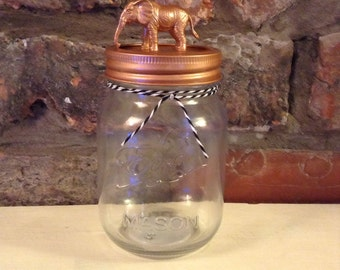 Copper Elephant Mason Jar, storage