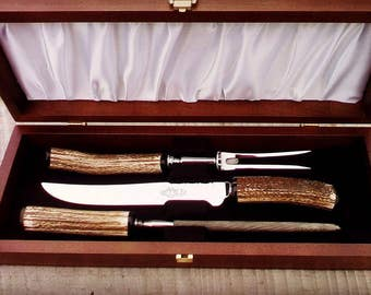 Stag Antler, Carving Set, Cutlery, Wedding Gift, Kitchen Ware