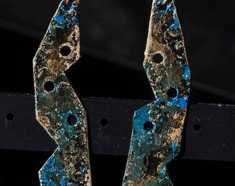 Rustic copper patina earrings with geometric shape