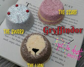 Harry Potter House Gryffindor Inspired bath bomb set, sorting hat, lion, crest, sword, book, hogwarts
