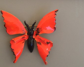Striking Vintage Orange Winged Butterfly Brooch.