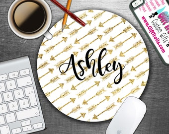 Gold Arrow Style 3 - Personalized Mouse Pad - Monogram Mousepad - Personalized - CoWorker Gift - Teacher Gift - Chic Mousepad - Glitter