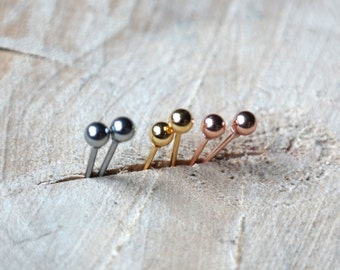 Ball Stud Earrings | Ball Earring | Stainless Steel Silver Gold Plated Dot Earrings | Minimal Dotted Earring | 3mm Ball Studs
