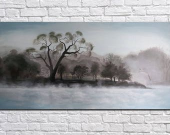 Landscape Original Acrylic Painting Large Painting Large Wall Art Abstract painting Canvas wall art Fog on the lake