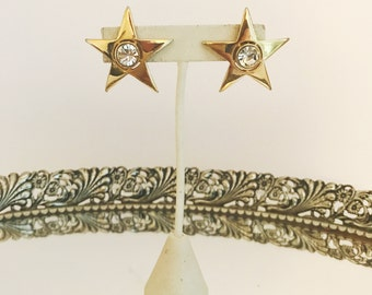 Vintage Star Rhinestone 60's Earrings