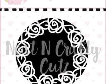 rose circle background cut file . For scrapbooking and paper crafting