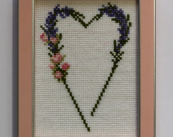 Cross  Stitch - Lavender  Heart