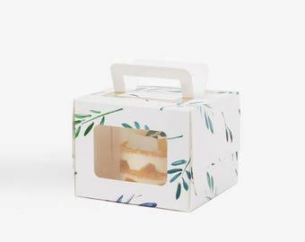 5 mini leaf pattern cake boxes,box with window, gable boxes with window white cake box, boxes with window,white gift box, small cake boxes