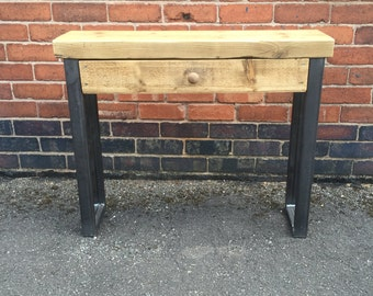 Sveinn - Handmade Industrial Chic Reclaimed Wood Hall Table w/ Drawer and Steel Boxed legs Custom Made To Order.