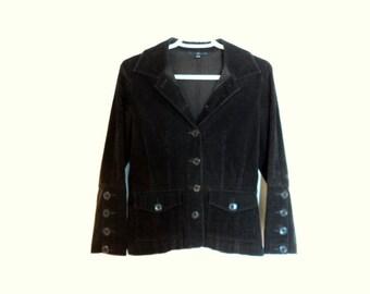 Brown jacket Velvet rope. Vintage women's clothing. Tight velvet jacket.