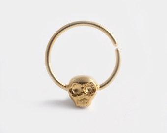 Skull Septum Ring, Gold Septum Ring, Nose Piercing, Septum Jewelry, Goth Jewelry, Gold Nose Jewelry, Punk Jewelry, Sugar Skull Jewelry