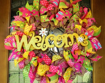 Welcome Mesh Wreath, Spring Mesh Wreath, Summer Mesh Wreath, Summer Door Hanger, Spring Door Hanger