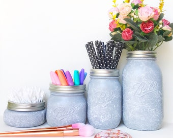 Grey Marble Mason Jar, Grey nursery, marble desk accessories, Makeup brush holder, Grey pen pot, marble makeup storage, grey desk organiser