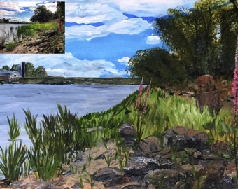 Custom Landscape painting from Photograph, 16x20in Acrylic, Scenery painting, personalized, Natural landscape, photo to art