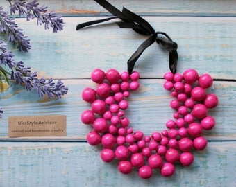 Pink Detachable collar Big bead necklace large wooden beads bubblegum necklace Wooden Cristmas Gift unique Necklace collar Handmade