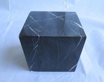 Vintage Black Marble Cube Paperweight