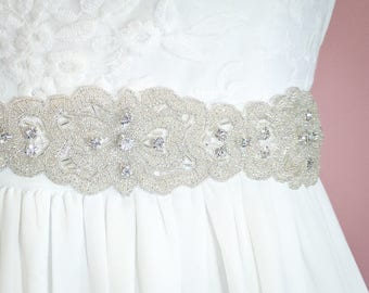 Wedding Bridal Belt - Rhinestone Beaded Bridal Belt - Beaded Bridal Sash - Beaded Bridal Applique Belt - Wedding Belt Bridal Sash