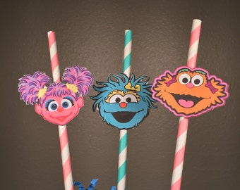 Sesame Street (Abby, Rosita, Zoe) Straws: Set of 12