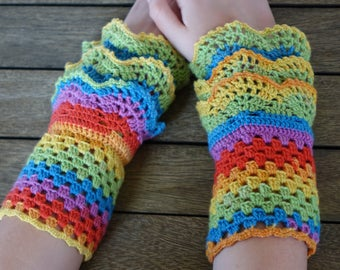 CROCHET WRIST WARMERS Fingerless Gloves Mitts - Rainbow Handcrafted Triple Cuffed -  Made Entirely With Love & A Little Wool -  Beautiful !
