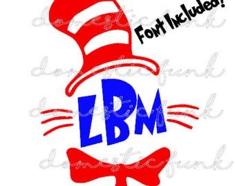 Dr. Seuss Cat in the Hat Monogram Digital Download (SVG, PNG, Silhouette Studio)