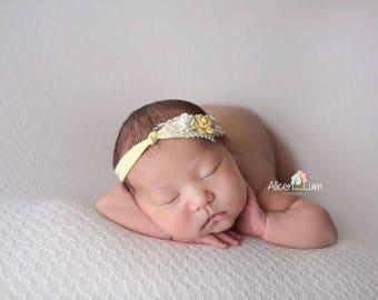 Yellow Newborn Headband, Newborn Tieback, Baby Headband, Baby Tieback