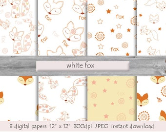 White Fox Paper, DIGITAL PAPER, Arctic Fox, Fox Prints, Fox Pictures, Printable Foxes Background, Foxes Woodland Themed, Fox Paper Scrapbook