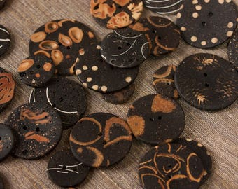 set of four handmade unique buttons, 4 elegant art buttons made of natural materials