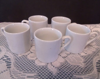 Set of five White Glazed Expresso Cups, (# 749/42)