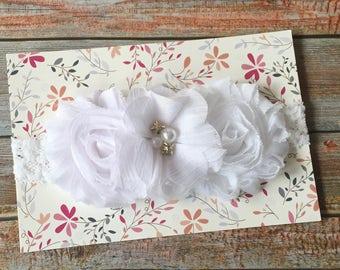 White Baptism Headband/Baby Headband/Newborn Headband/Baptism Baby Headband/White Baby Headband/Christening Headband/Baby Girl/Baptism/White