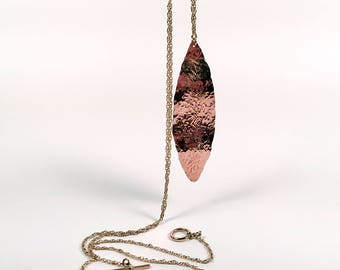 Portia Copper Textured Leaf Necklace with Bronze Adjustable Chain