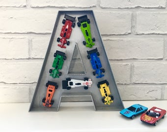 Toy car decor, Boys room decor, Birthday gift for him, Large wooden letter, Car decor, Boys name sign, Father's Day gift, Godson gift