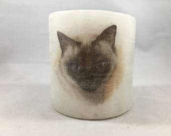 Vintage Siamese Cat Candle In Original Packaging Never Used