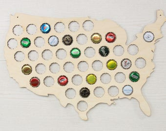 Beer cap map - Beer cap holder - Bottle cap holder - Beer cap collecting - Husband gift unique - USA map wood - Beer map - Beer map USA