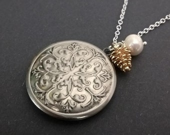 Locket,silver locket,locket necklace,unique handmade locket,locket jewelry,germany,gift for her,vintage necklace,gift,abstract,patterns,