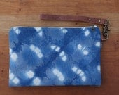 Shibori Hand Dyed Fabric Clutch - Zipper Pouch, Brown Leather Detachable Strap. Bridesmaid Gift, Gift for Her.