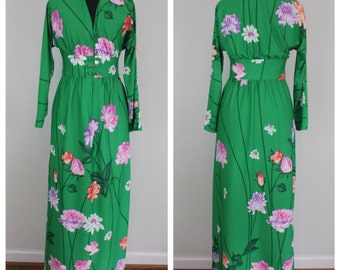 Vintage 1970s Green Floral Caftan Maxi Dress by Luigi of Naples - Mumu Kaftan Goddess Wear - Size XS, S, Extra Small, Small