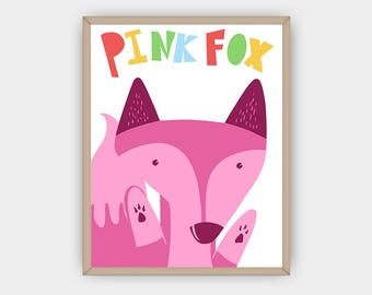 Fox Print Nursery Decor, Kids Room Art, Woodland Decor, Minimalist Nursery Print