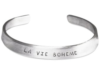 La Vie Boheme - RENT Inspired Stamped Bangle Bracelet - Broadway Musical Fan Gift - Made in the U.S.A.