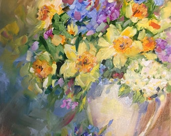 Original impressionist oil painting//stilllife//flowers in vase//wall art//home decor//painting by Brenda Peake//11x14 inch